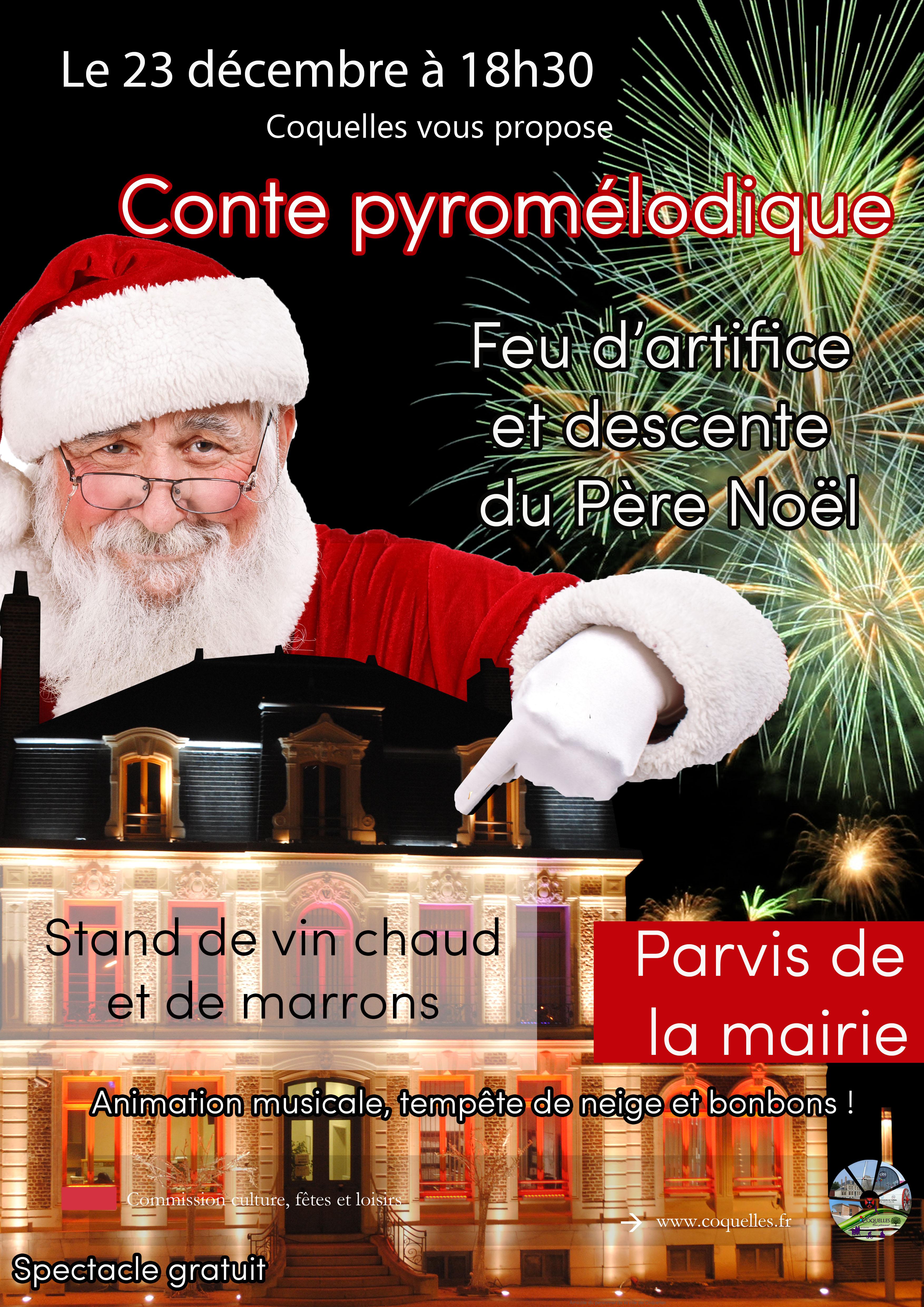 Descente du Père Noël et feu d'artifice